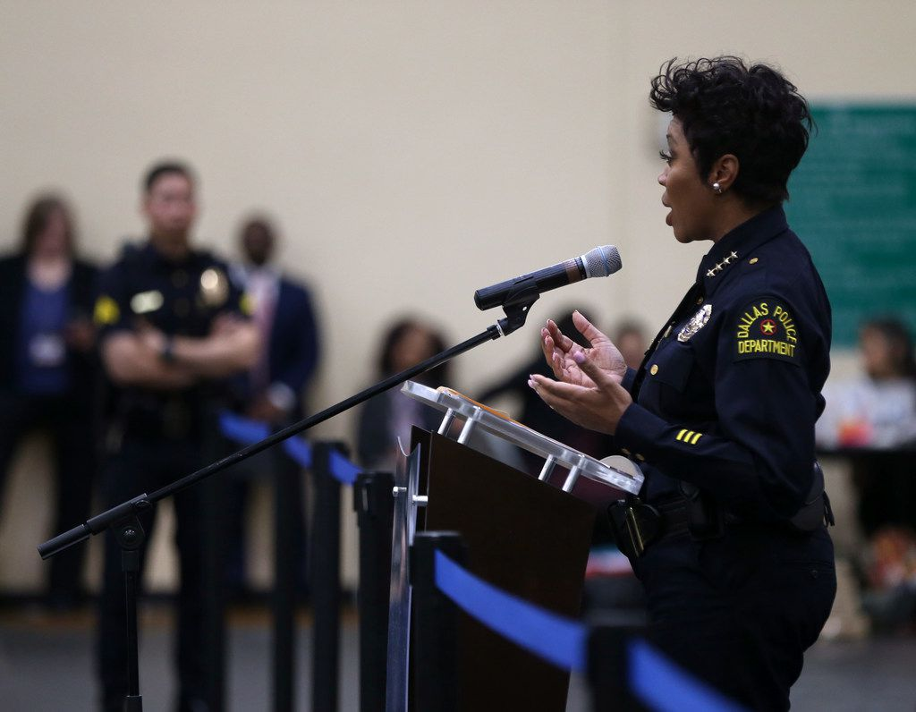 Dallas Police Chief U. Renee Hall answers questions about the juvenile curfew ordinance during a previous City Council meeting at Park in the Woods Recreation Center in Dallas on Wednesday, Feb. 13, 2019. (Rose Baca/Staff Photographer)