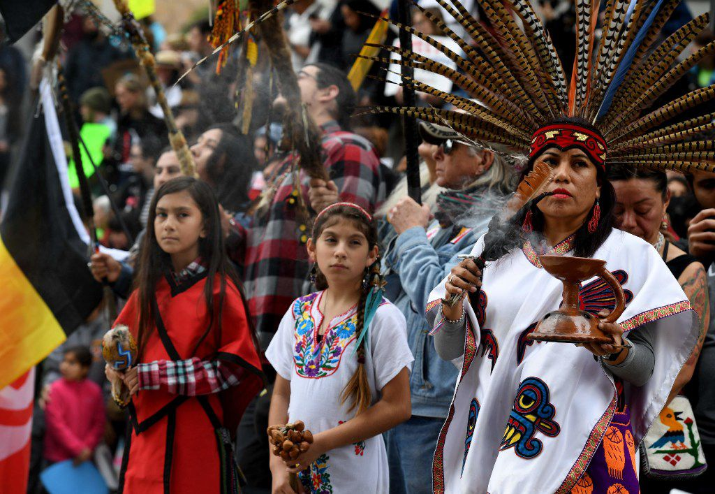 Native Americans led demonstrators In February as they marched in California in protest against President Donald Trump's executive order fast-tracking the Keystone XL and Dakota Accesss. (Mark Ralston/AFP/Getty Images)