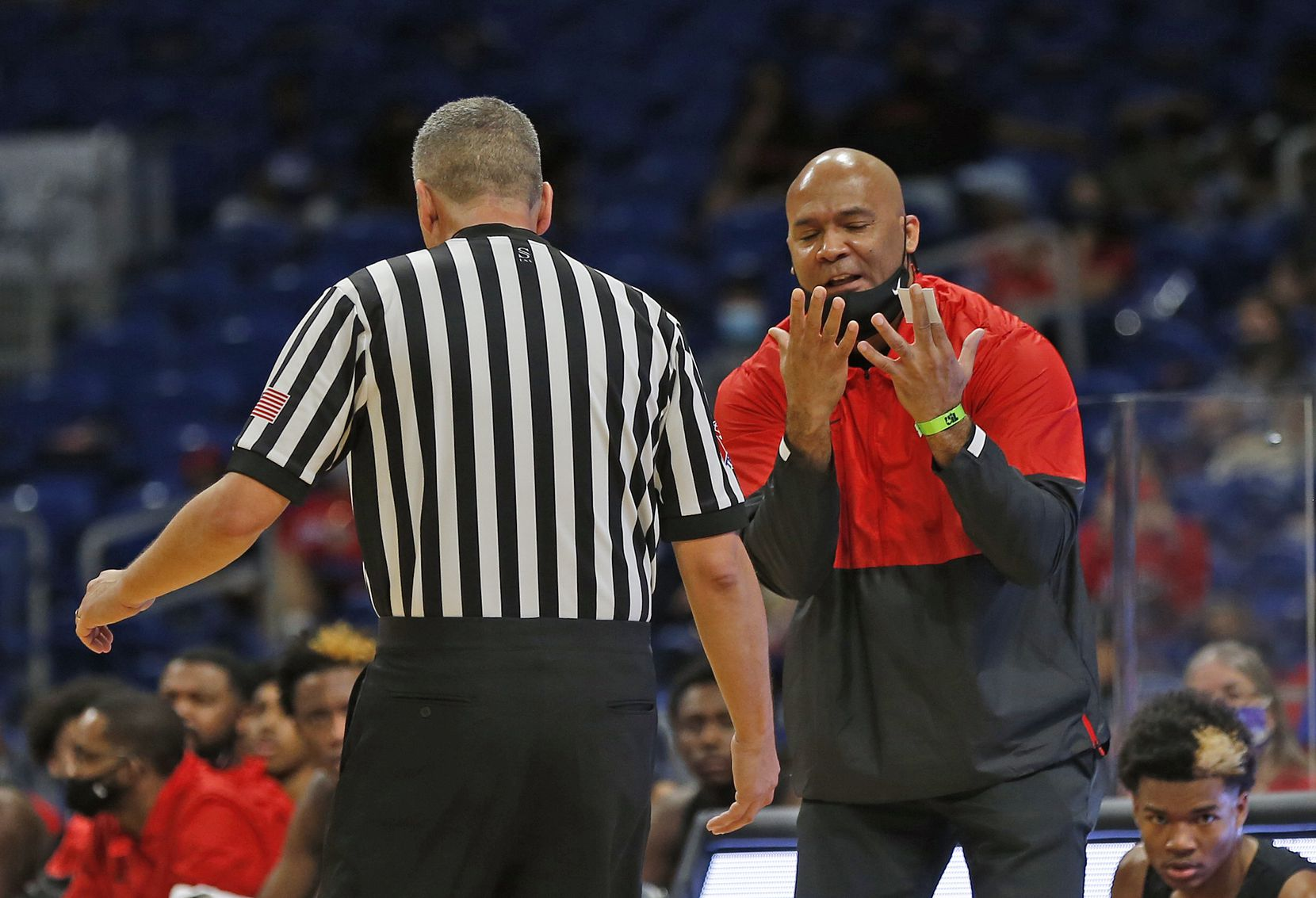 Duncanville head coach David Peavy argues a call. UIL boys Class 6A basketball state championship game between Duncanville and Austin Westlake on Saturday, March 13, 2021 at the Alamodome.