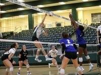 Prosper player #5, Sydney Thornton, jumps to hit the ball during a Denton Guyer High School versus Prosper High School volleyball match at Prosper High School in Prosper, TX, on Oct. 12, 2021.