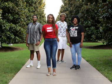 Chizuruoke Ukachi-Nwata, left, Axum Taylor, Isaiah Francis, and Jasmine Cook pose for a photograph at University of Texas Dallas in Richardson, TX, on Aug. 15, 2020. They are four of nine students on the Living Our Values Task Force.
