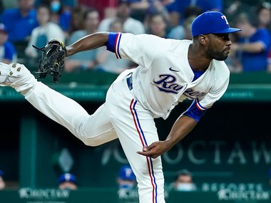 Texas Rangers pitcher Taylor Hearn delivers during the fifth inning against the Boston Red Sox at Globe Life Field on Saturday, May 1, 2021.