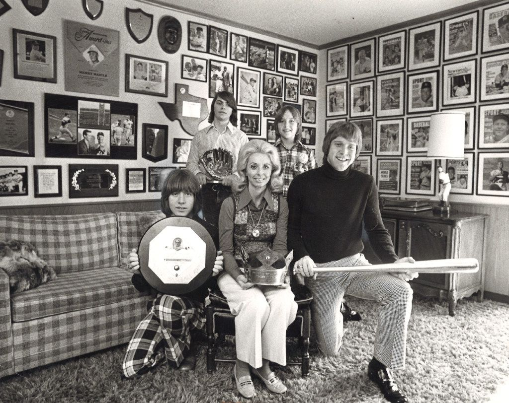 Mickey Mantle's family celebrated his election to the Baseball Hall of Fame in the Mick's Trophy Room at home, Jan. 16, 1974 in Dallas, Texas. Mantle's wife Merlyn poses with the four Mantle sons, clockwise from left: David, Billy, Dan and Mickey Jr. Mickey Mantle was in New York accepting the recognition at the time. Their home is in North Dallas in the Douglas-Walnut Hill Lane area.