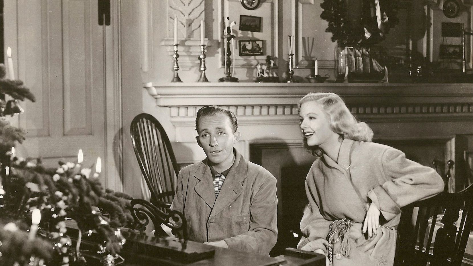 """Bing Crosby and Marjorie Reynolds perform  """"White Christmas"""" in Holiday Inn.  From Bing Crosby: Swinging on a Star, by Gary Giddins."""