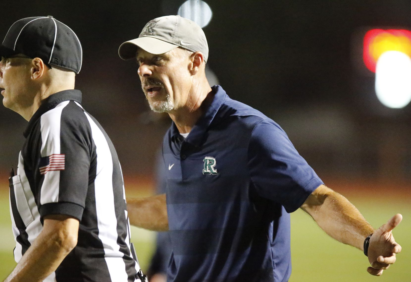 Reedy High School head coach Chad Cole argues his point to no avail near the end of the second half as Reedy High School hosted Frisco Liberty High School at David Kuykendall Stadium in Frisco on Wednesday night, August 26, 2021. (Stewart F. House/Special Contributor)