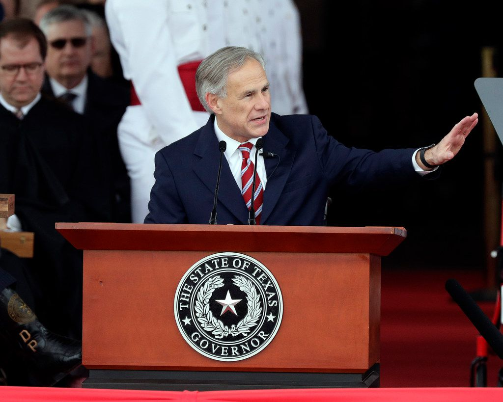 Texas Gov. Greg Abbott spoke during his inauguration ceremony, in Austin on Jan. 15, 2019. (AP Photo/Eric Gay)