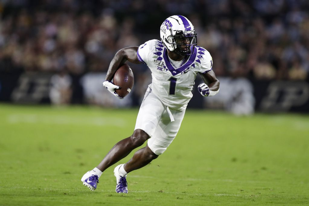 TCU wide receiver Jalen Reagor left the Frogs' game against Oklahoma State in the fourth quarter after making a catch. (AP Photo/Michael Conroy)