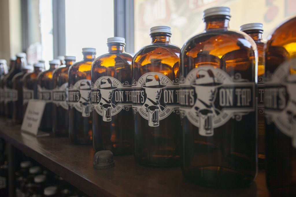 What's On Tap sells growlers to fill up at their taps for customers to take home.