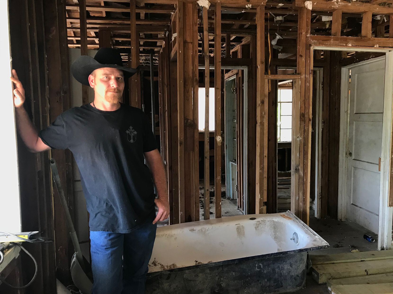 Chris Ward, 33, pictured at the family home he and his brother are remodeling in La Vernia, Texas, on April 2, 2018. Ward lost his wife and two daughters in the shooting at the First Baptist Church of Sutherland Springs.(Lauren McGaughy/Staff)