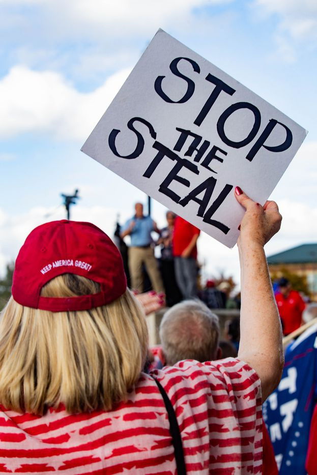 Trump supporters gather for an America is Great rally hosted by TrumpTrain 2020 DFW at Rockwall County Courthouse in Rockwall on Sunday, Nov. 8, 2020. (Juan Figueroa/ The Dallas Morning News)