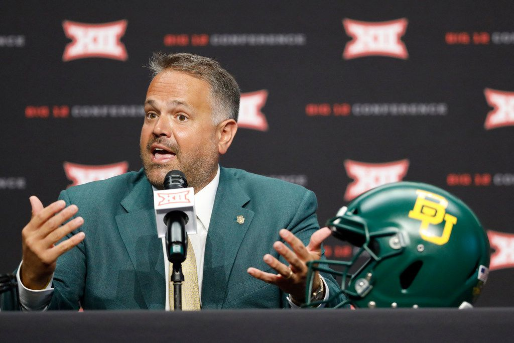 FILE - In this July 6, 2019, file photo, Baylor head coach Matt Rhule speaks during Big 12 Conference NCAA college football media day in Arlington, Texas. Rhule knows all about the Big 12 schedule that is ahead for Baylor, including those big home games against the league's Top 25 teams Iowa State, Oklahoma and Texas that will certainly get everybody excited. What Rhule wants going into his third season is for his Bears to focus on themselves and the immediate task ahead of them. They play FCS team Stephen F. Austin in their season opener Saturday night. (AP Photo/David Kent, File)