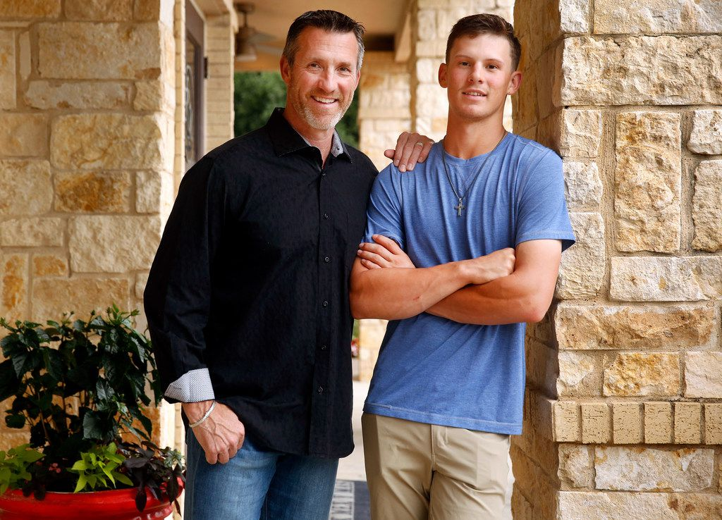 Colleyville Heritage High baseball player Bobby Witt Jr., the son of former Texas Ranger Bobby Witt (left), is projected to be a top 5 pick in the MLB draft next week. The two are photographed during a party celebrating his Gatorade National Baseball Player of the Year award at Rio Mamba restaurant in Colleyville, Texas, Wednesday, May 29, 2019. (Tom Fox/The Dallas Morning News)