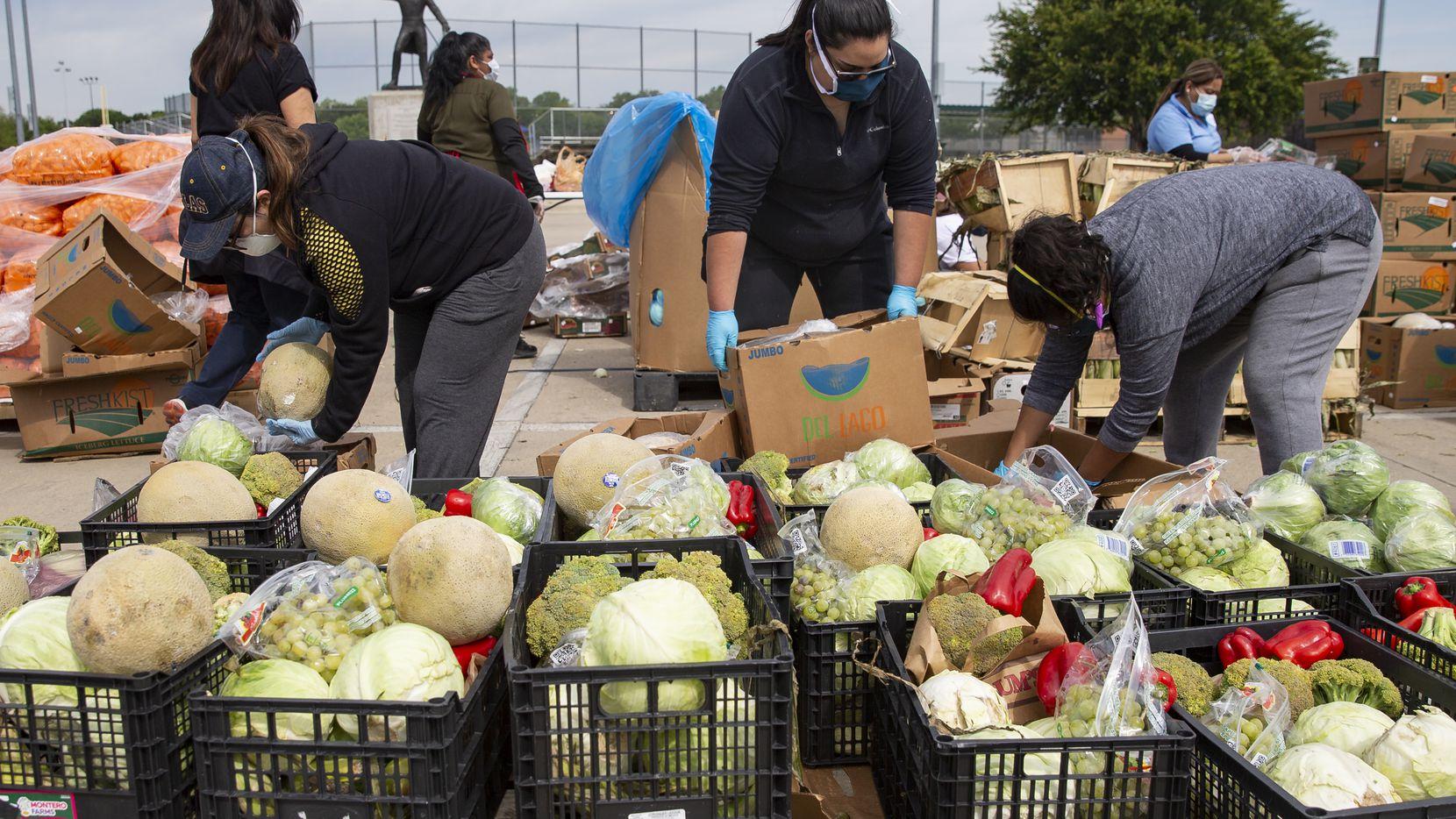 Voluntarios del Harvest Food Project Rescue entregan cajas de frutas y vegetales en el parque Jaycee Zaragoza el pasado 18 de abril.