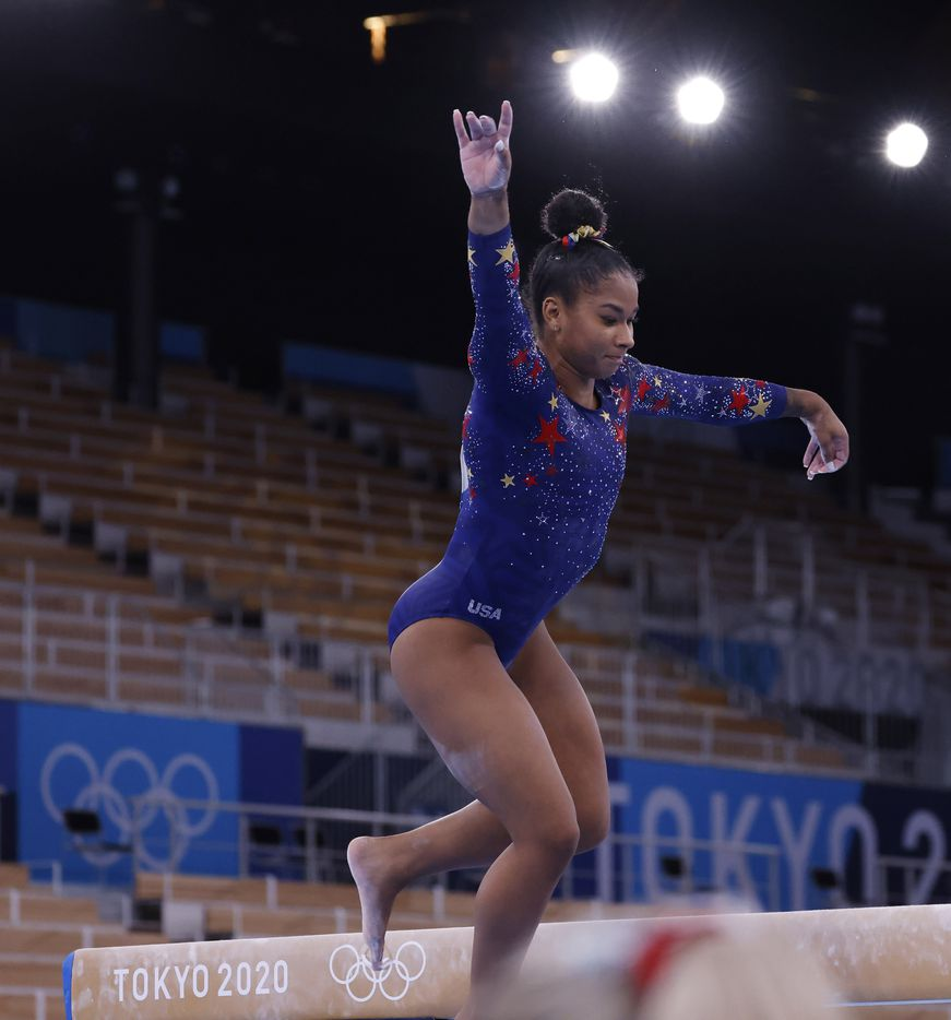 USA's Jordan Chiles slips off the balance beam in a women's gymnastics event during the postponed 2020 Tokyo Olympics at Ariake Gymnastics Centre on Sunday, July 25, 2021, in Tokyo, Japan. (Vernon Bryant/The Dallas Morning News)
