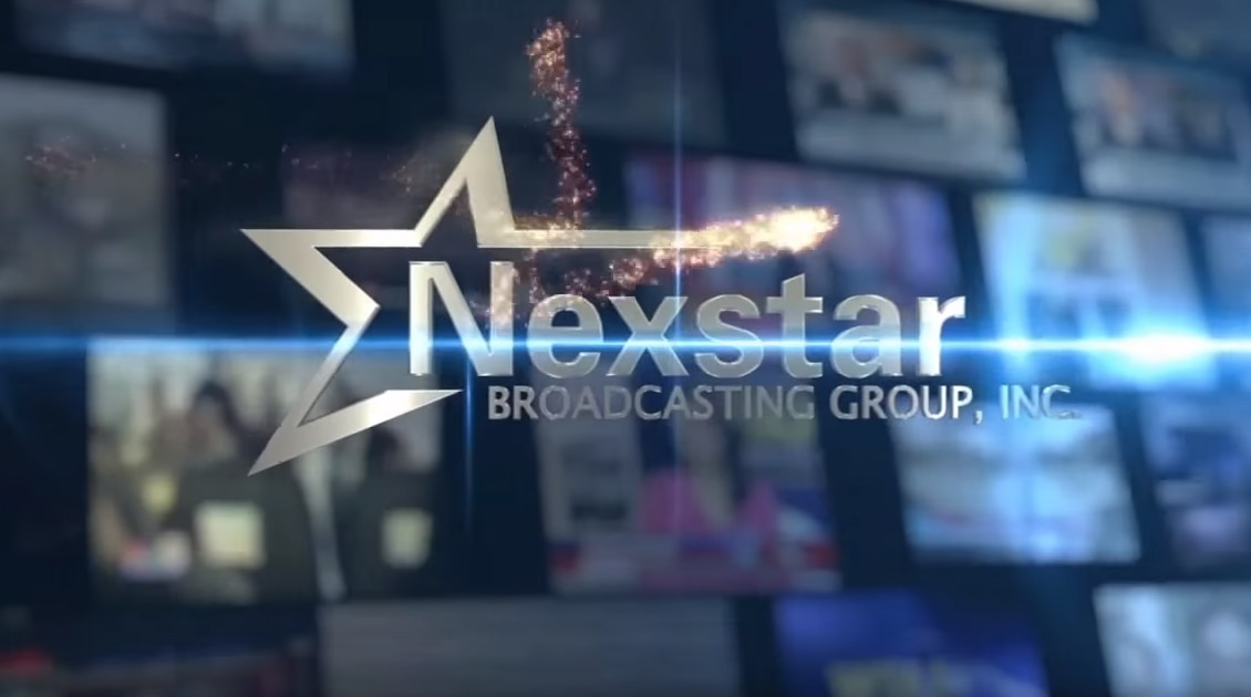 Screenshot of a Nexstar logo appearing on screen during a newscast at one of its TV stations