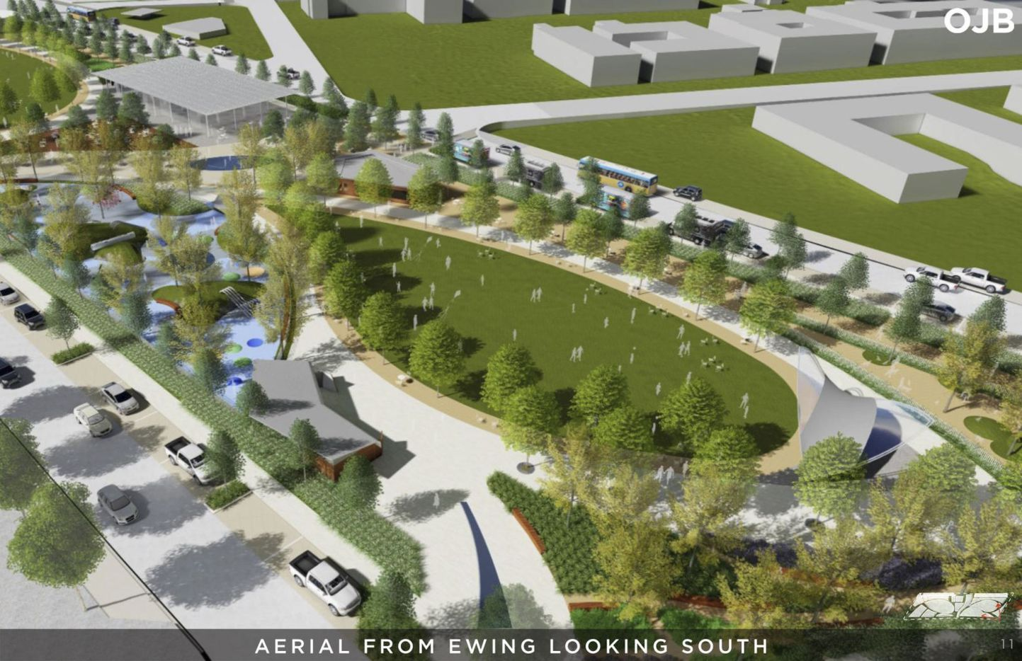 An aerial view from Ewing looking south, in a rendering from a Conceptual Plan for the Southern Gateway Public Green, a deck park over I-35E from S. Marsalis Avenue to S. Ewing Avenue, adjacent to the Dallas Zoo.