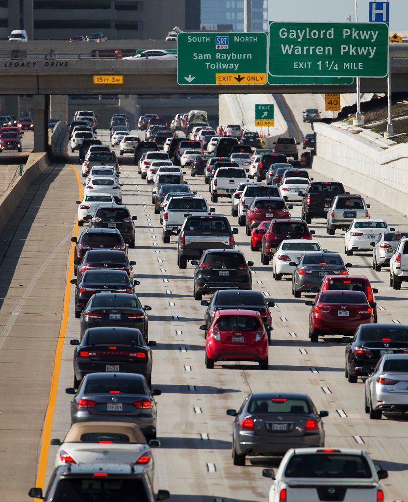 Gridlock is routine on the Dallas North Tollway in Plano. Once it was crowded in one direction, but now the road is congested both ways day and night.