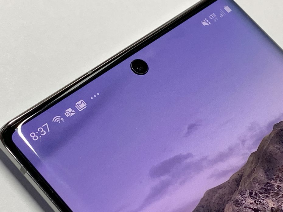 The front camera on the Note 10+ sits top center.