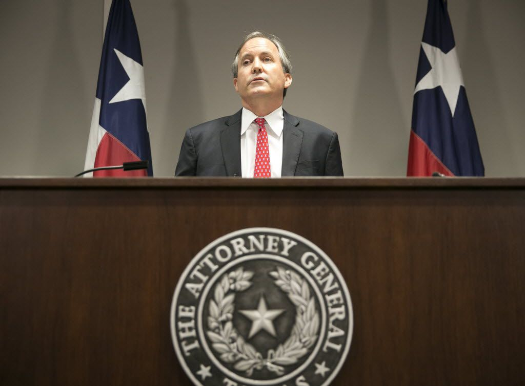 In this 2016 file photo, Attorney General Ken Paxton announces Texas' lawsuit to challenge President Obama's transgender bathroom order.