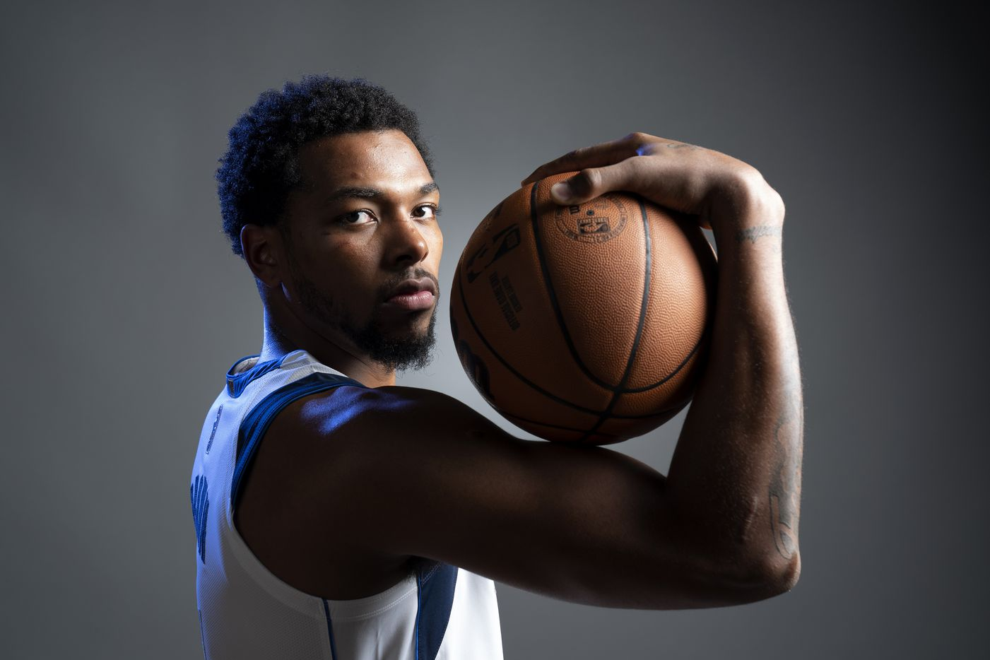 Dallas Mavericks guard Sterling Brown (0) poses for a portrait during the Dallas Mavericks media day, Monday, September 27, 2021 at American Airlines Center in Dallas. (Jeffrey McWhorter/Special Contributor)