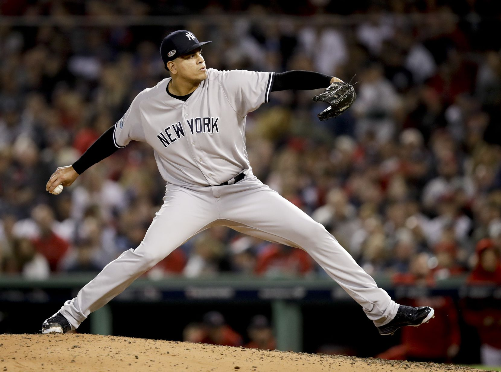 FILE - In this Oct. 6, 2018, file photo, New York Yankees relief pitcher Dellin Betances throws against the Boston Red Sox during the sixth inning of Game 2 of a baseball American League Division Series in Boston. (AP Photo/Charles Krupa, File)