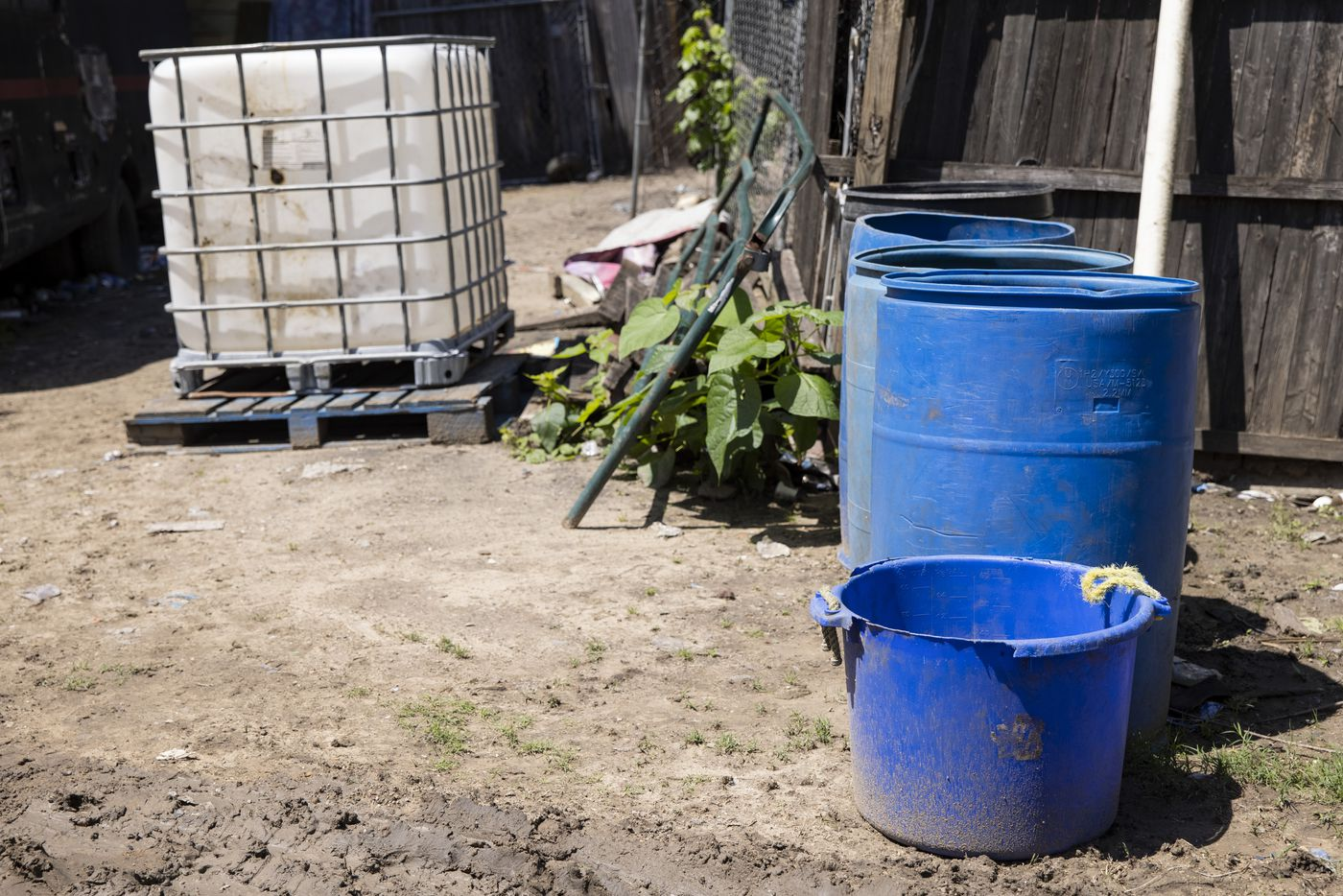 The water Richard Shivers and Rachel Garcia use for their daily needs in a barrel on their lot on Wednesday, May 26, 2021, in Sandbranch. (Juan Figueroa/The Dallas Morning News)