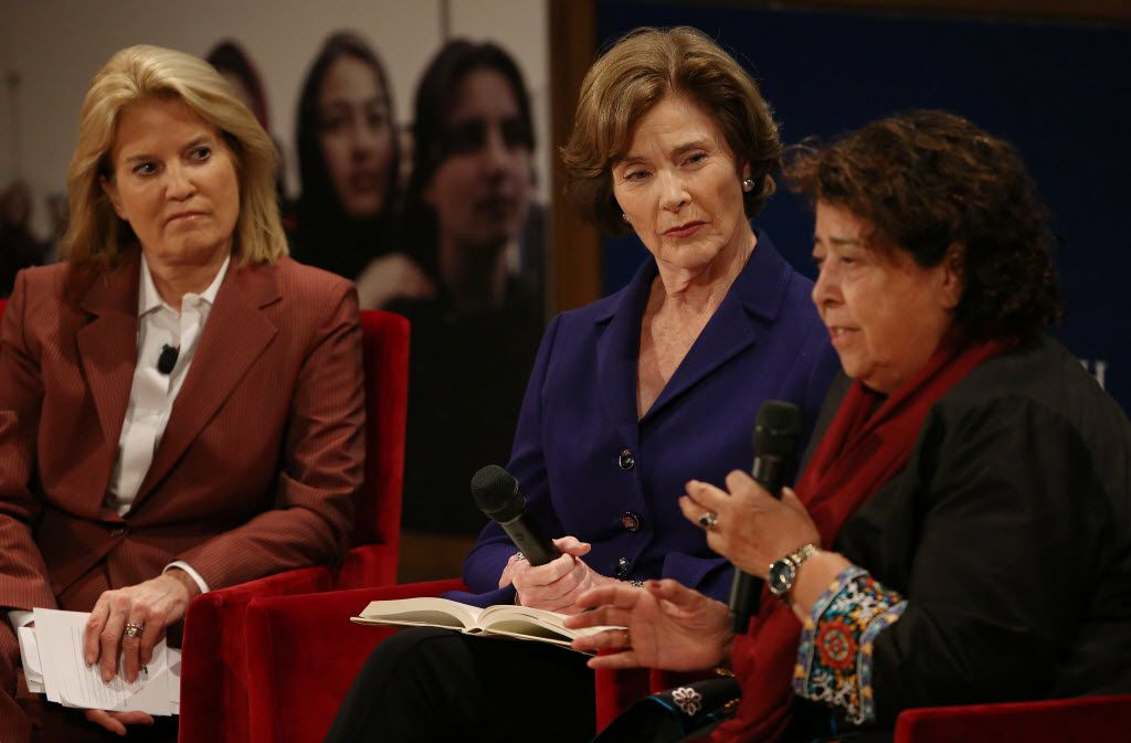 """(From left) Moderator Greta Van Susteren, Former First Lady Laura Bush and humanitarian Razia Jan speak during a program highlighting the book """"We Are Afghan Women: Voices of Hope"""" at the George W. Bush Presidential Center in Dallas Tuesday March 8, 2016.  """"We Are Afghan Women: Voices of Hope"""" is the latest book by the George W. Bush Institute. The book includes an introduction by Mrs. Bush. The book highlights the stories of the struggles and successes of women in present-day Afghanistan. Jan is a humanitarian that has helped to provide education to girl in rural Afghanistan. (Andy Jacobsohn/The Dallas Morning News)"""
