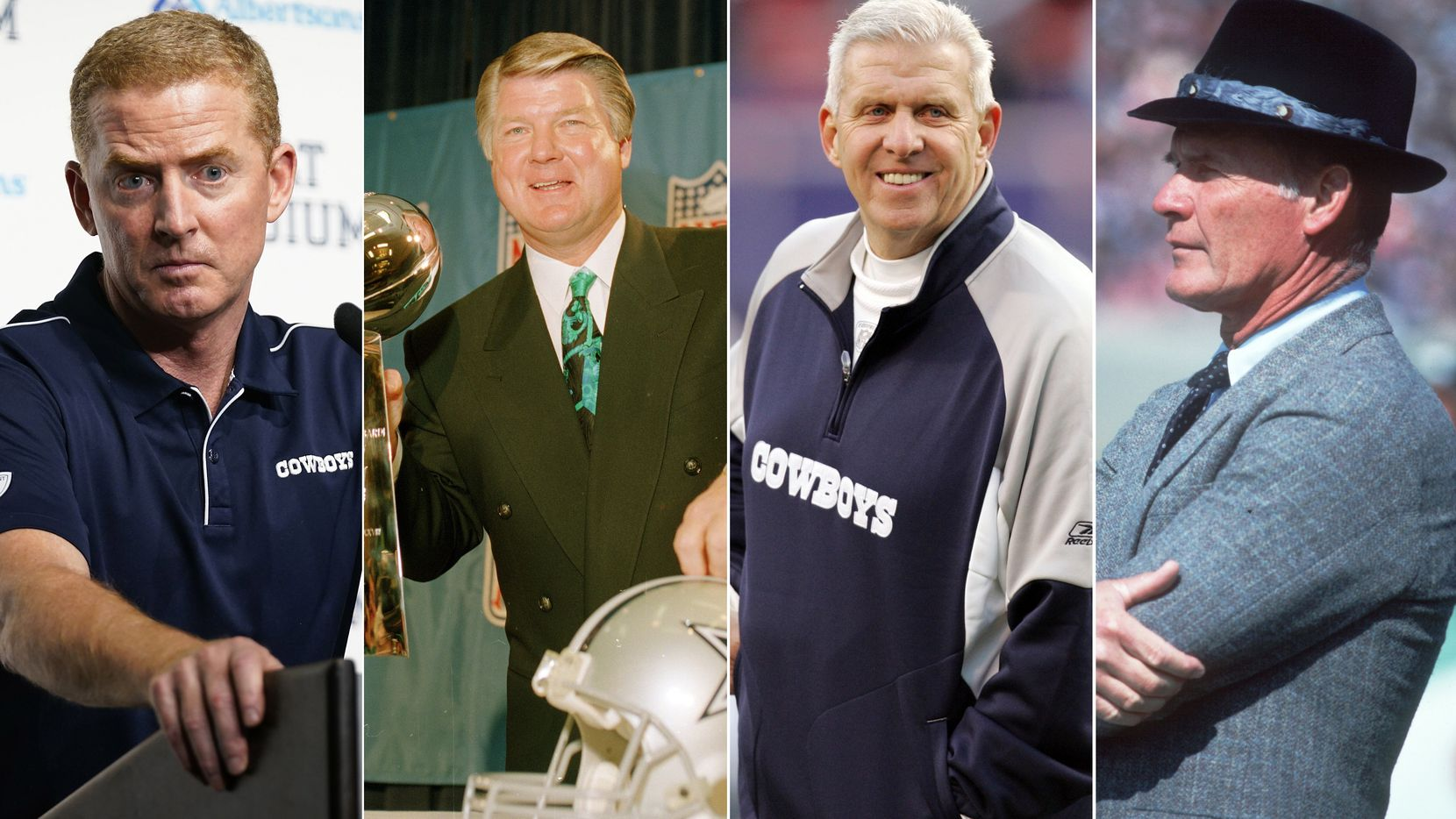 File photos (from left to right): Jason Garrett, Jimmy Johnson, Bill Parcells, Tom Landry
