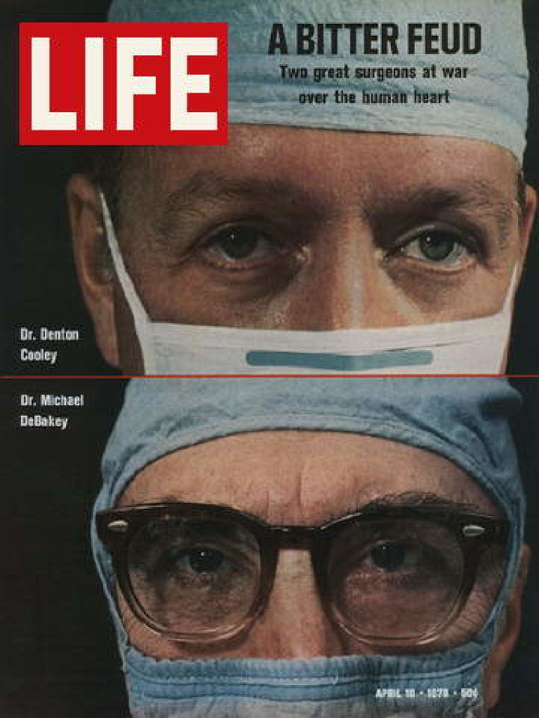 The cover of Life  from April 10, 1970, showing Denton Cooley and  Michael DeBakey.