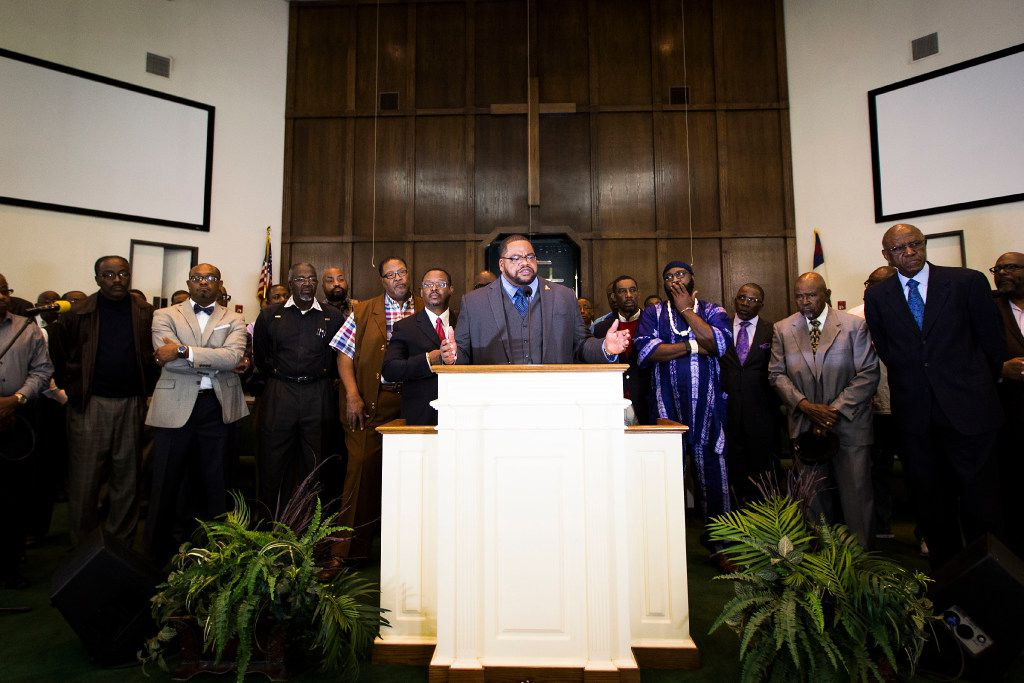 Rev. K.P. Tatum addresses the media during a news conference at Beth Eden Baptist Church on Saturday, Dec. 24, 2016, in Fort Worth.