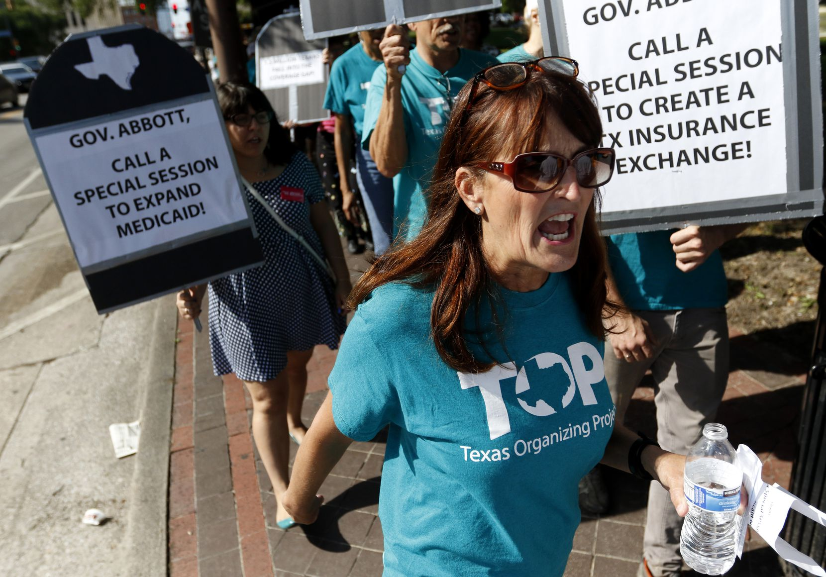 Business leaders, health-care industry executives, liberal activists and Democrats want the Texas Legislature next year to expand Medicaid, as well as remove roadblocks to children's enrollment in government health insurance programs for low-income people. Medicaid expansion has been blocked in Texas, despite protests such as this one in Dallas in 2015.