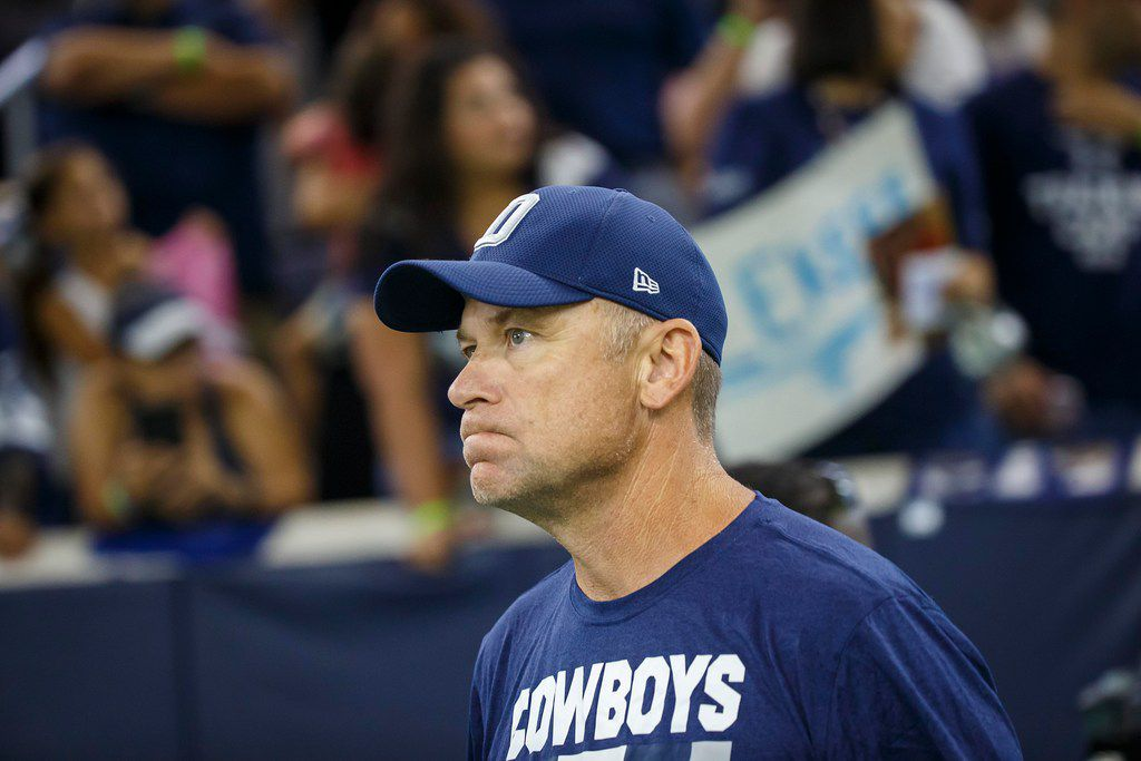 FILE - Cowboys offensive coordinator Scott Linehan takes the field for training camp at The Star on Tuesday, Aug. 21, 2018, in Frisco. (Smiley N. Pool/The Dallas Morning News)