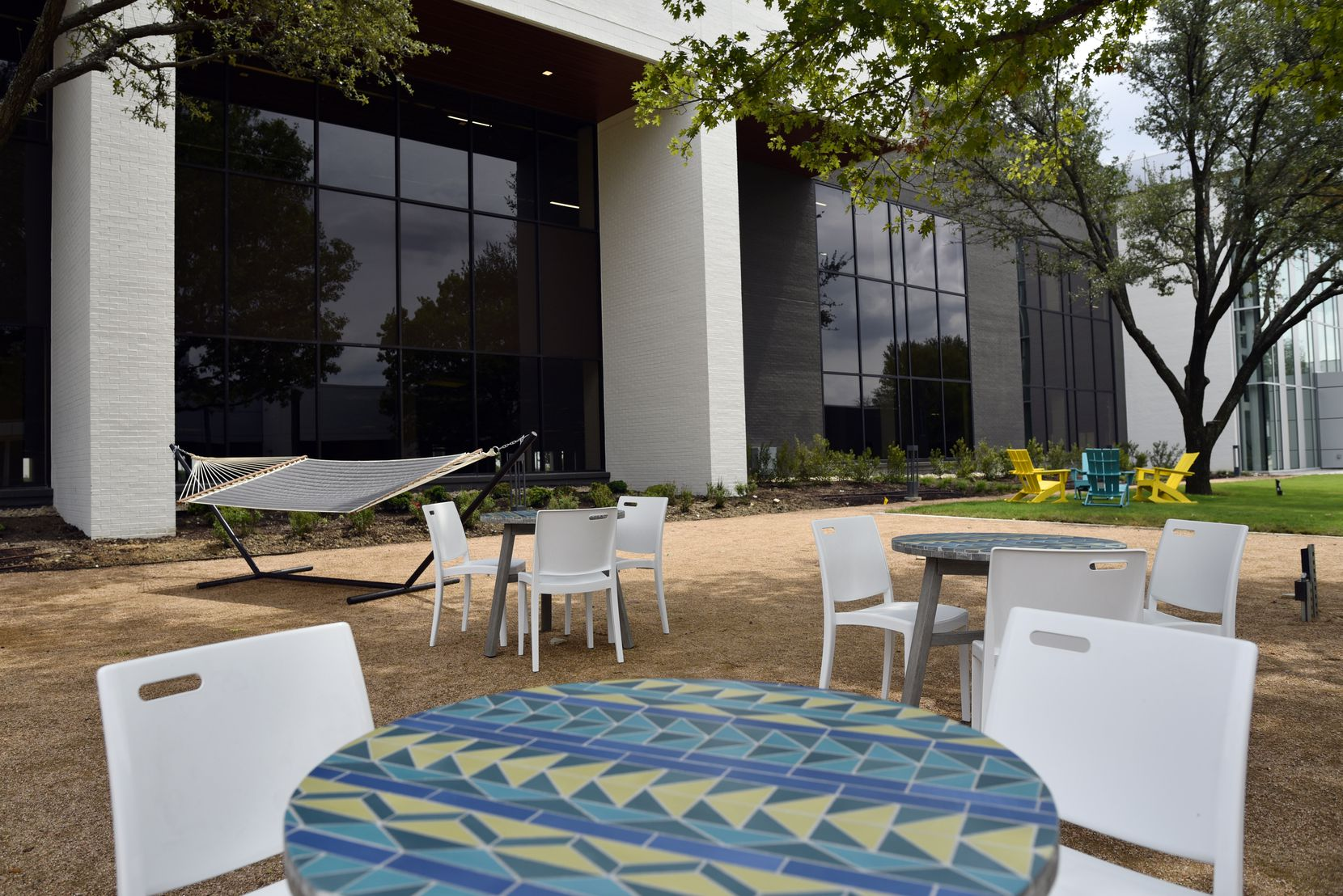 An outdoor community space on the campus of Legacy Central in Plano.
