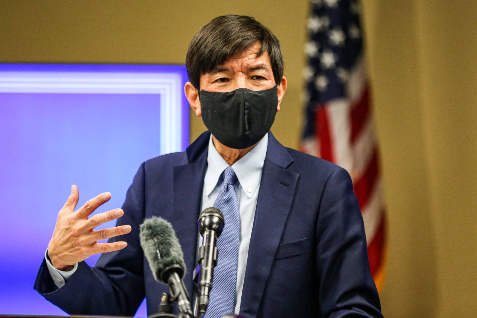 Dr. Philip Huang, director of the Dallas County Health and Human Services, during a press conference to discuss the coronavirus pandemic in Dallas on Friday, Dec. 18, 2020.