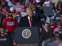 """President Donald Trump continues to cite his swaggering trade tactics as an example of his """"America First"""" approach. But the issue has slid into the background in the waning months of the White House race."""