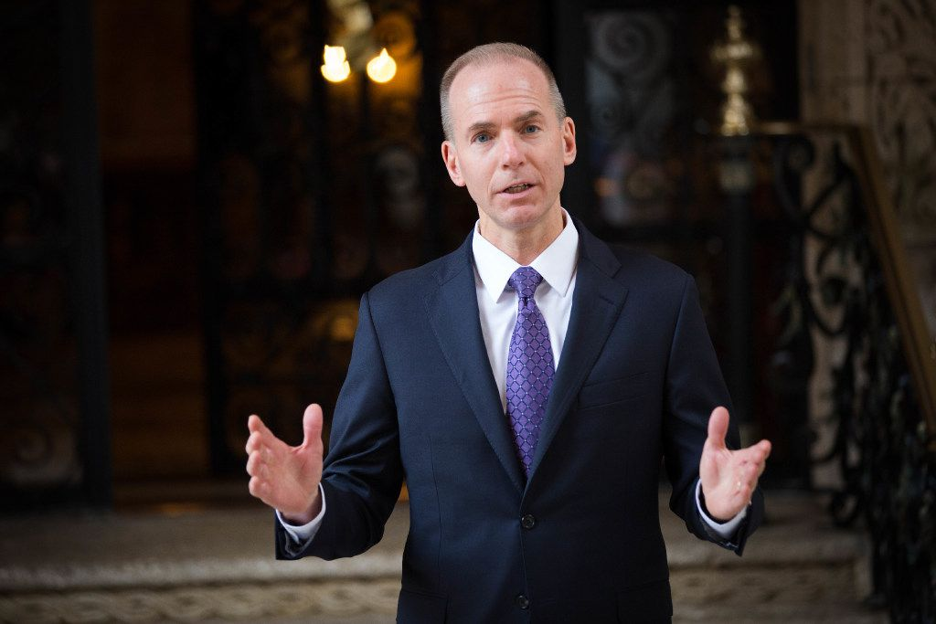 Dennis Muilenburg. the chief executive of Boeing, speaks to reporters outside Donald Trump'•s Mar-a-Lago resort in Palm Beach, Fla., Dec. 21, 2016. The president-elect held a number of meetings here on Wednesday. (Kevin D. Liles/The New York Times)