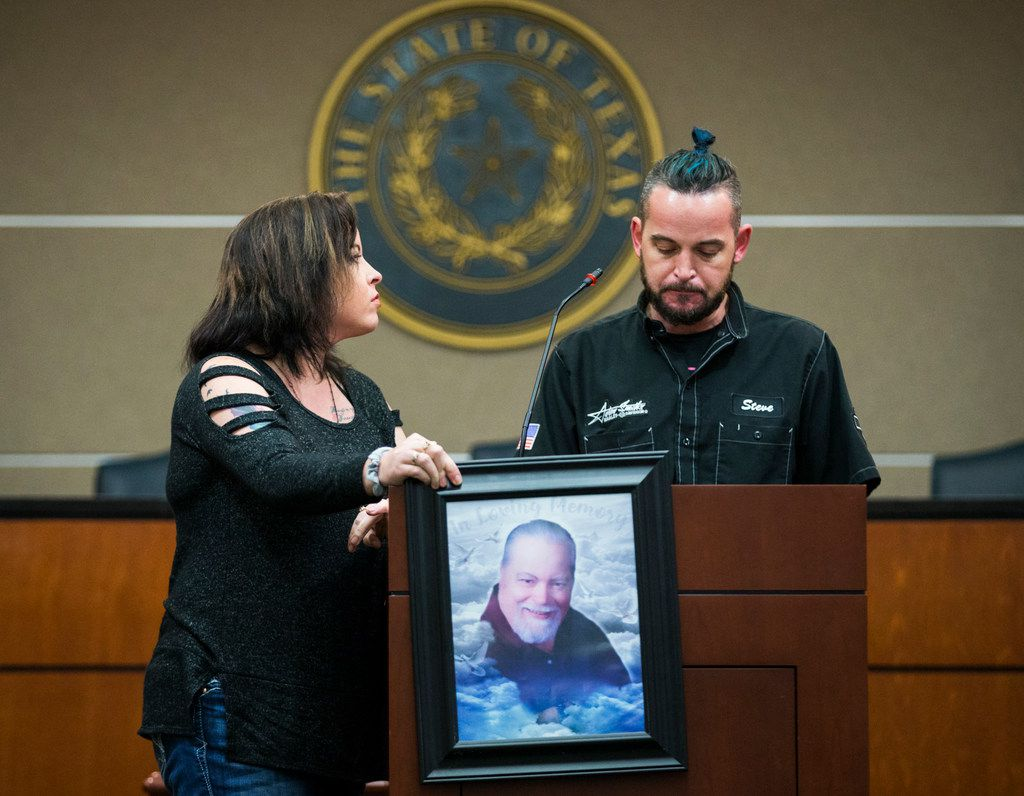 Stephanie Kingrey (left) and Steve McCollum speak about their father, Larry McCollum (pictured), who died of heat stroke while he was incarcerated at the Hutchins Unit in Dallas County, during a press conference held by Texas Prisons Air-Conditioning Advocates on Tuesday, March 12, 2019 at the John H Reagan State Office Building in Austin. The organization set up a heated, mock prison cell outside the state capitol and challenged people to spend three minutes inside.