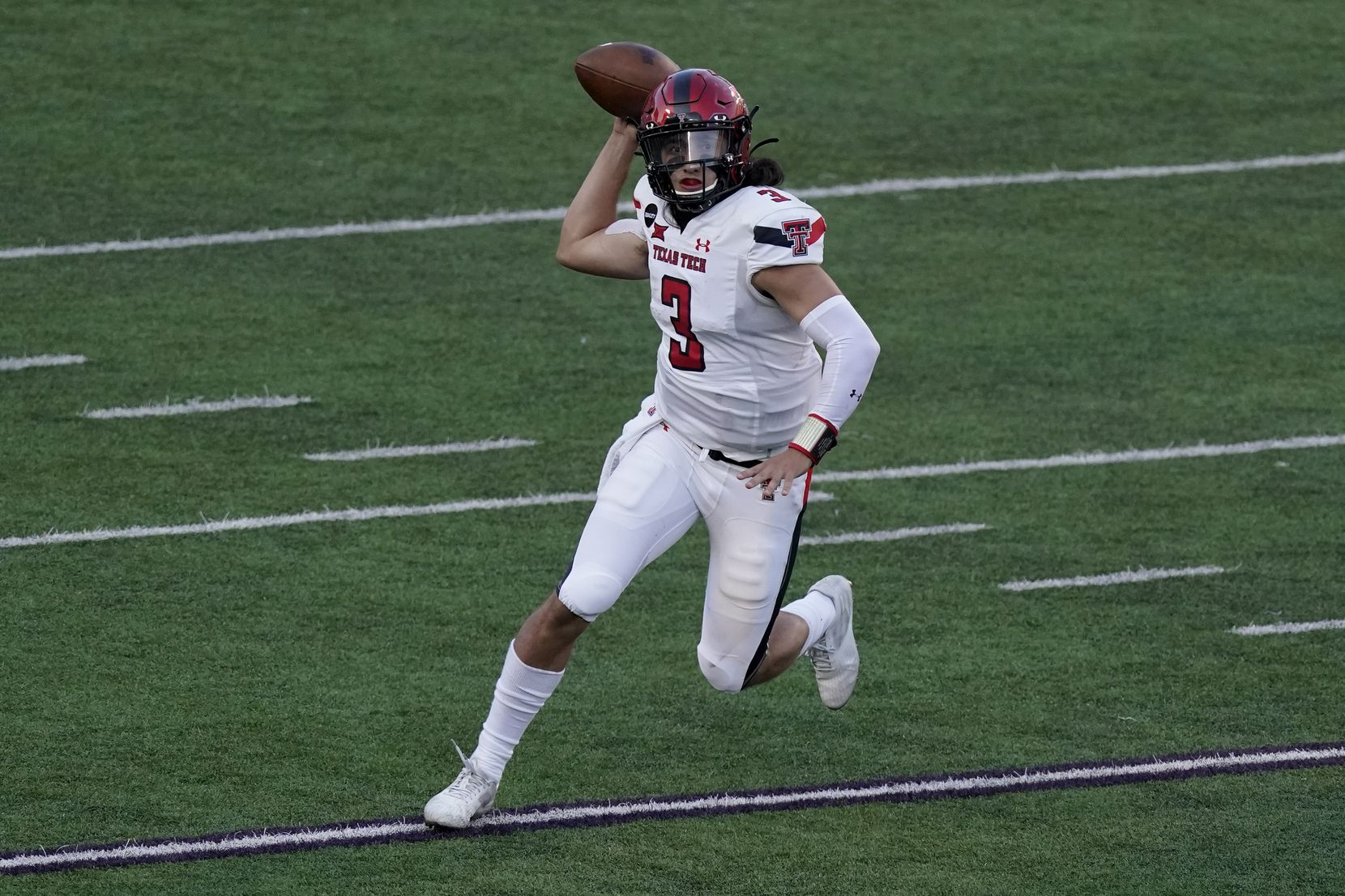 Texas Tech quarterback Henry Colombi looks to throw the ball during the second half of an NCAA college football game against Kansas State Saturday, Oct. 3, 2020, in Manhattan, Kan. Kansas State won 31-21.