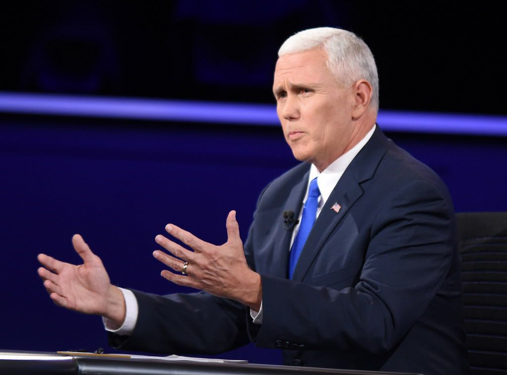 "Many Hispanics were upset by Republican Mike Pence's remark to Tim Kaine in the vice presidential debate: ""Senator, you whipped out that Mexican thing again.""  (Bao Dandan/Xinhua/Sipa USA/TNS)"
