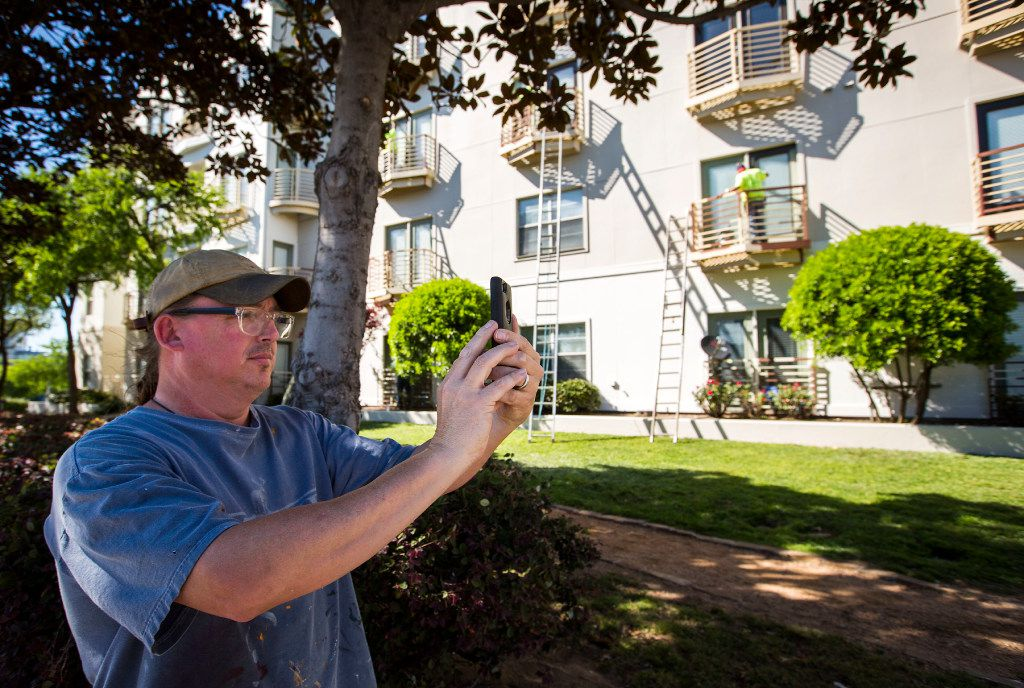 Artist Chris Arnold takes photos as painters work on trim and railing at the Phoenix Midtown apartments on Mockingbird on Friday. The deco murals on the property, painted by Arnold in 2008, have been painted over with solid beige. (Smiley N. Pool/The Dallas Morning News)