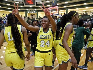 DeSoto High School forward Ari' Yanna HInes (24) celebrates the victory after the game as South Grand Prairie High School played DeSoto High School in a class 6A semifinal girls basketball game played at Prosper High School on Saturday , March 6, 2021.  (Stewart F. House/Special Contributor)