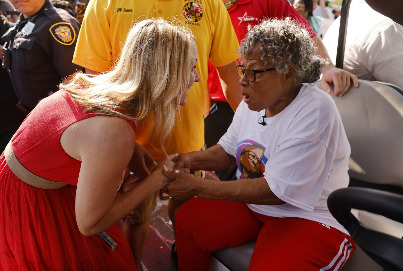 New Fort Worth mayor Mattie Parker (left) surprises Opal Lee before setting out on her  Juneteenth walk from Evans Avenue Plaza.