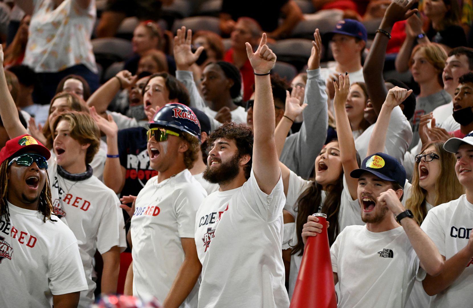 Denton Ryan students cheer in the first half during a high school football game between Longview and Denton Ryan, Saturday, Aug. 28, 2021, in Frisco, Texas. (Matt Strasen/Special Contributor)
