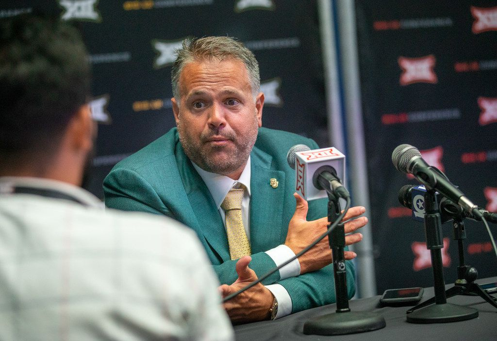 Baylor University head football coach Matt Rhule speaks with reporters during the breakout session of the Big 12 Conference Media Days event at the AT&T Stadium in Arlington, Texas, Tuesday, July 16, 2019. (Lynda M. Gonzalez/The Dallas Morning News)