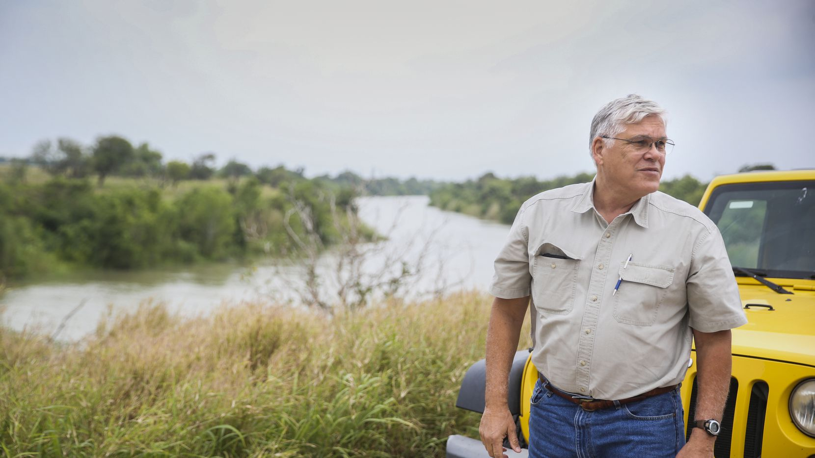 Frank Schuster patrols his farm land along the border of the United States and Mexico in Texas' Rio Grande Valley on April 29, 2019. (Ryan Michalesko/The Dallas Morning News)