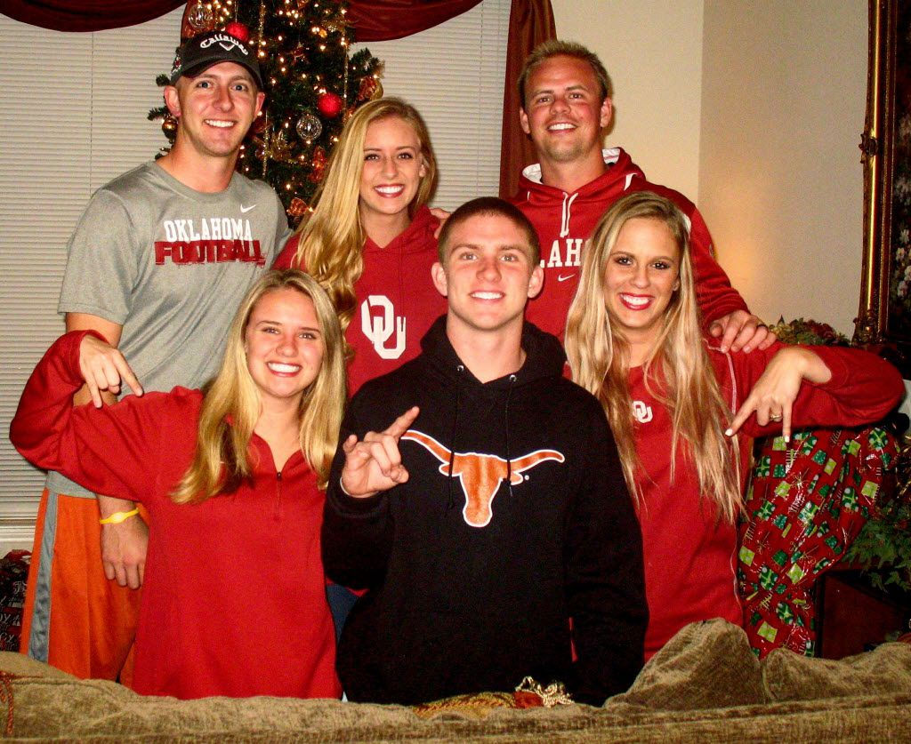 Top row, L-R, brother Tanner Buechele, sister Amber Buechele, brother Garrett Buechele.   Bottom row, L-R: sister Jordan Buechele, Shane Buechele, sister-in-law Suzy Buechele