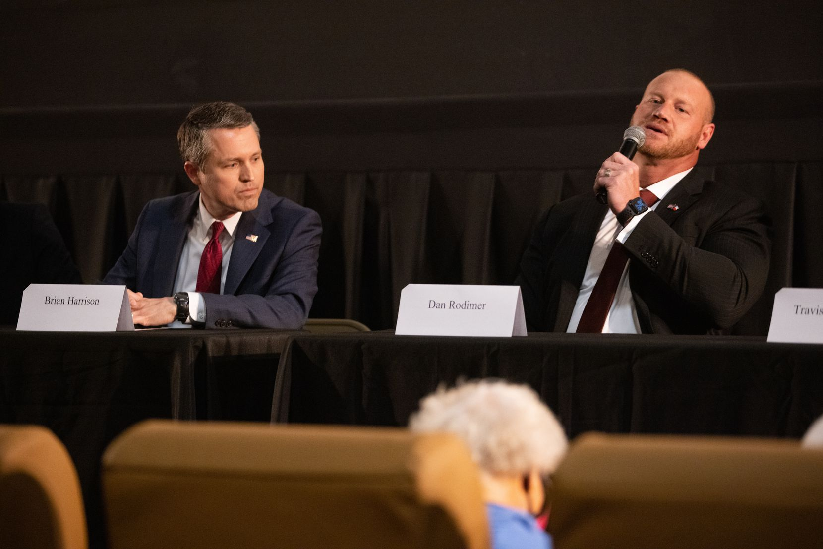 Brian Harrison (left) listened as Dan Rodimer answered questions during a forum for Republican candidates running in the 6th Congressional District of Texas race in Arlington on Wednesday, March 31, 2021. (Juan Figueroa/ The Dallas Morning News)