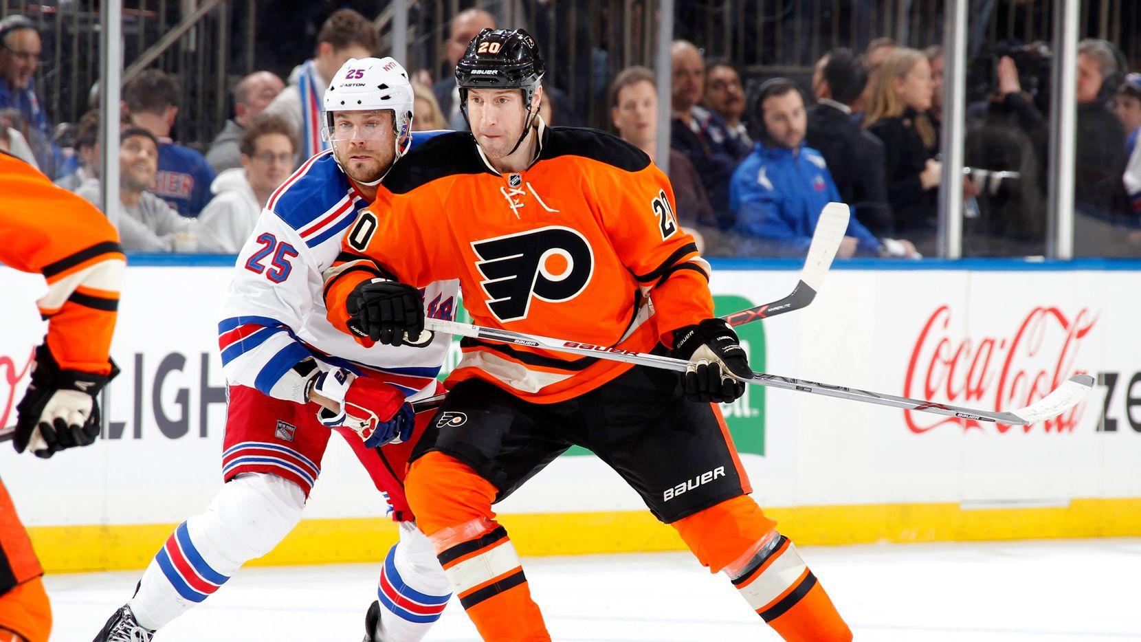 NEW YORK, NY - FEBRUARY 14:  R.J. Umberger #20 of the Philadelphia Flyers skates against Viktor Stalberg #25 of the New York Rangers at Madison Square Garden on February 14, 2016 in New York City. The New York Rangers won 3-1. (Photo by Jared Silber/NHLI via Getty Images)