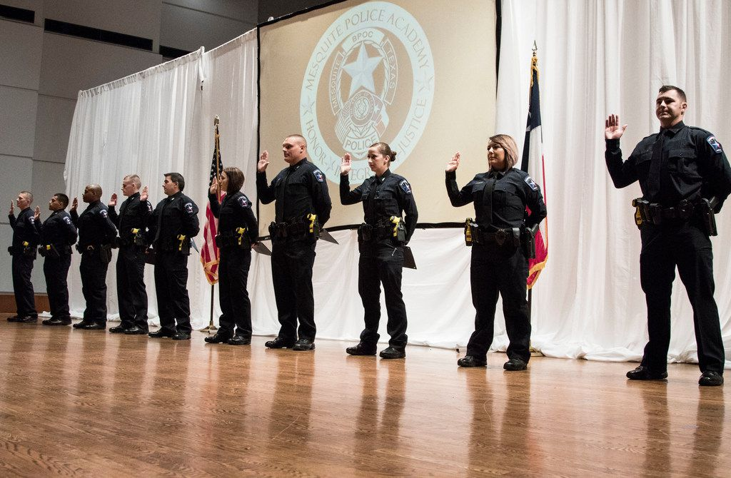Ten Mesquite Police Department officers were sworn in during graduation ceremonies at Mesquite Arts Center on Oct. 5.