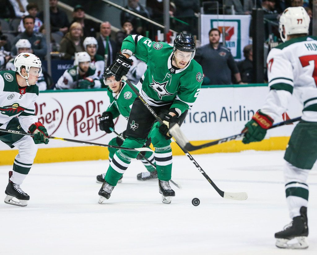 Dallas Stars defenseman Jamie Oleksiak (2) makes a break with the puck during the first period of a match between the Dallas Stars and the Minnesota Wild on Friday, Feb. 1, 2019 at the American Airlines Center in Dallas. (Ryan Michalesko/The Dallas Morning News)
